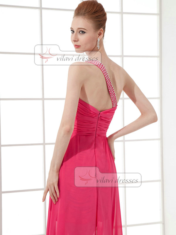 Column One Shoulder Floor-length Short Chiffon Cocktail Dresses With Beading