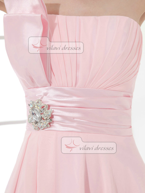 A-line One Shoulder Short Chiffon Crystal Tiered Cocktail Dresses