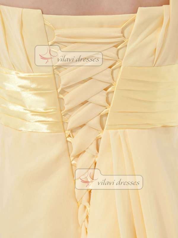 A-line One Shoulder Short Chiffon Tiered Crystal Cocktail Dresses