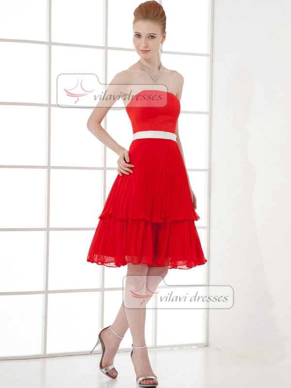A-line Tube Top Strapless Knee-length Chiffon Sashes Cocktail Dresses