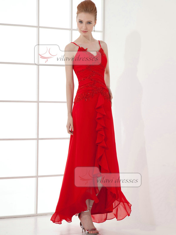 A-line Scalloped-edge Ankle-length Chiffon Appliques Prom Dresses With Beading