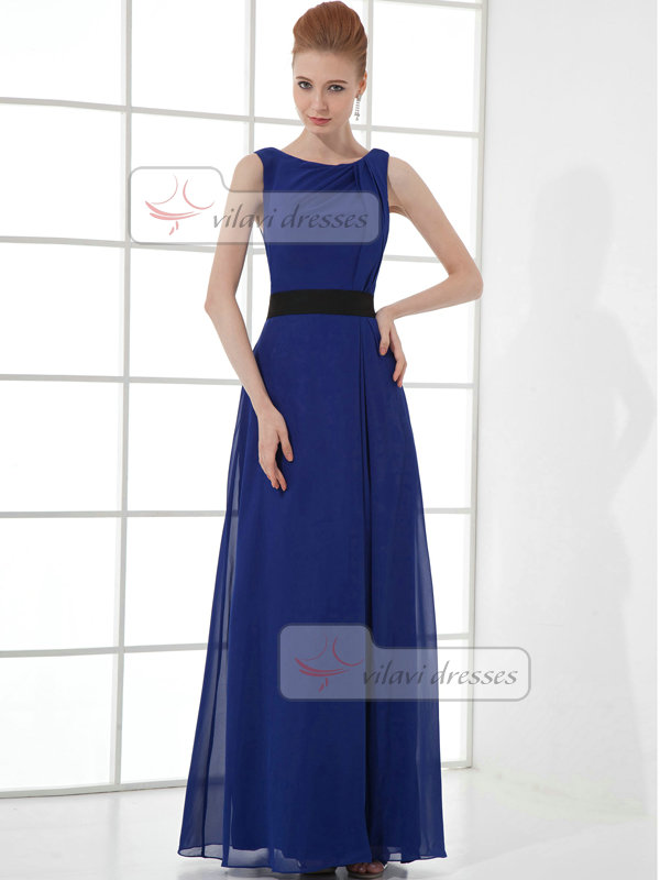A-line Bateau Floor-length Chiffon Evening Dresses