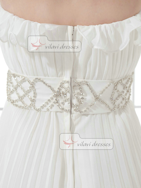 A-line Scalloped-edge Short Chiffon Crystal Homecoming Dresses