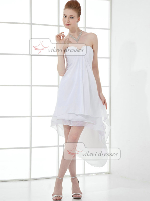 A-line Sweetheart Strapless Ankle-length Chiffon Crystal Prom Dresses