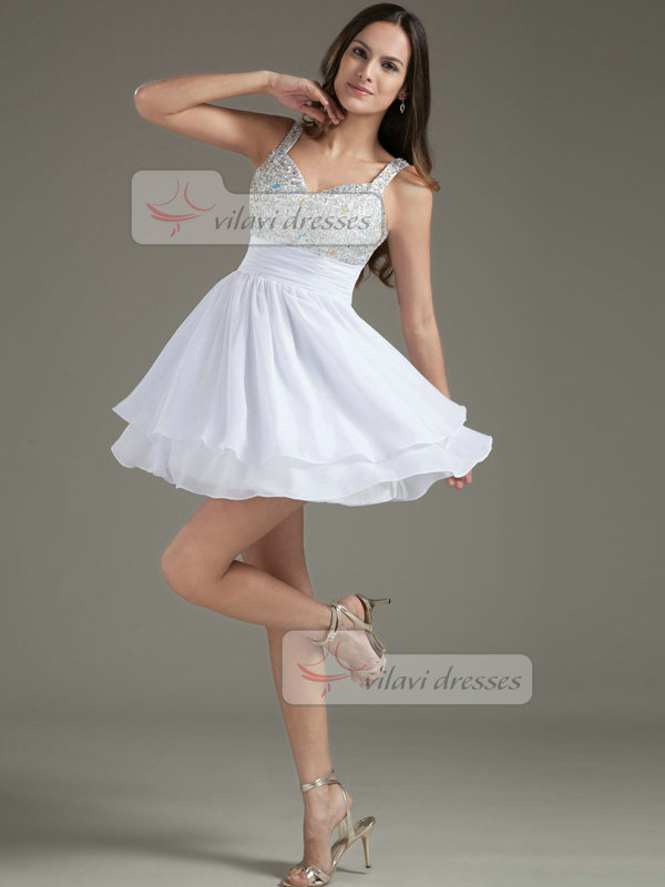 A-line Straps V-neck Short Chiffon Sequin Beading Homecoming Dresses