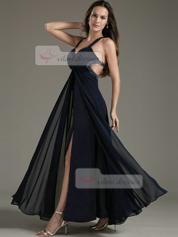 A-line Straps Floor-length Chiffon Beading Split Front Prom Dresses