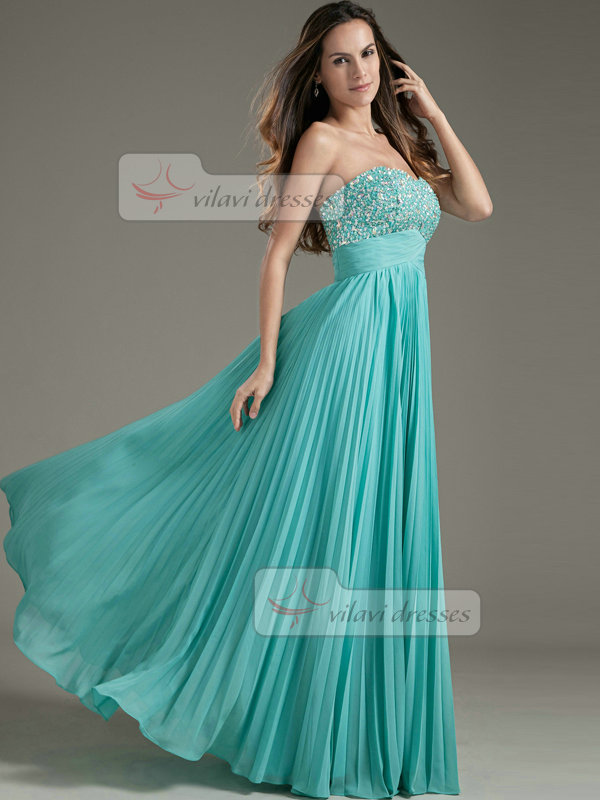 A-line Sweetheart Floor-length Chiffon Sequin Crystal Prom Dresses