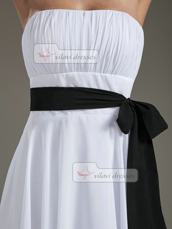 A-line Tube Top Knee-length Chiffon Sashes Homecoming Dresses