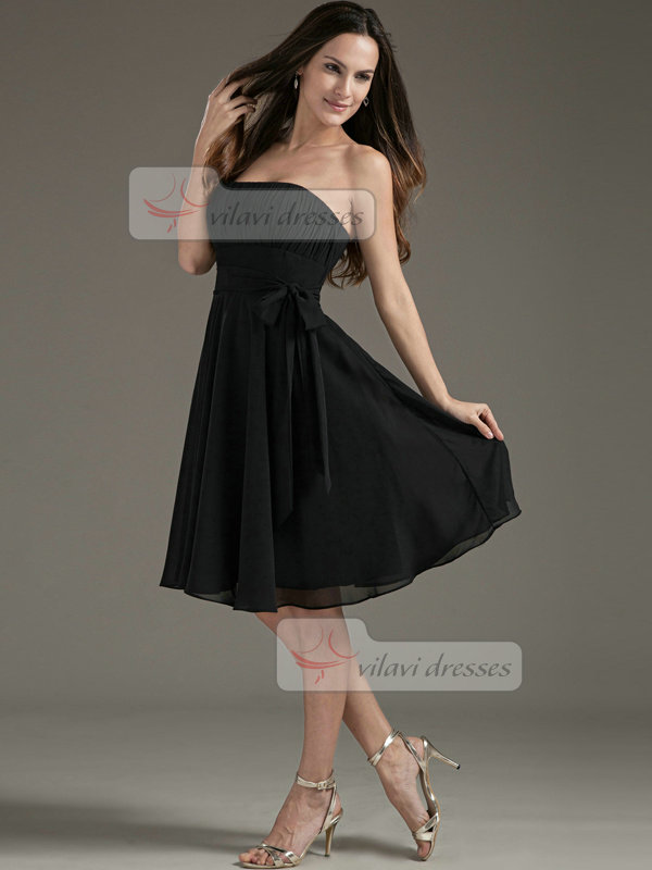 A-line Tube Top Strapless Knee-length Chiffon Sashes Prom Dresses