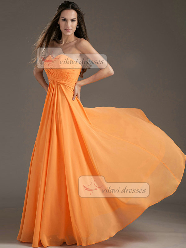 Column Sweetheart Floor-length Chiffon Draped Evening Dresses
