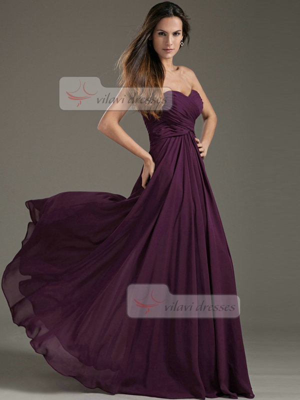 Column Strapless Floor-length Chiffon Draped Evening Dresses
