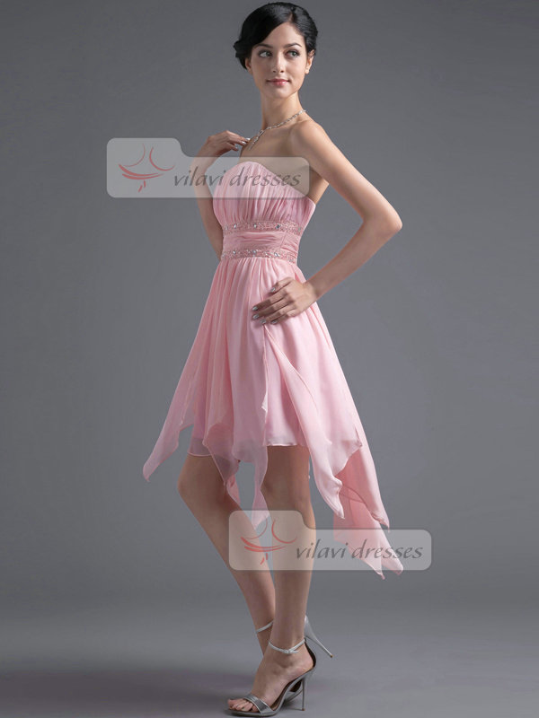 A-line Tube Top Tea-length Chiffon Sequin Crystal Homecoming Dresses