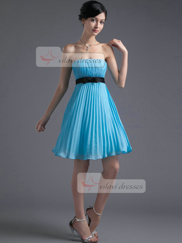 A-line Tube Top Knee-length Chiffon Bowknot Draped Homecoming Dresses