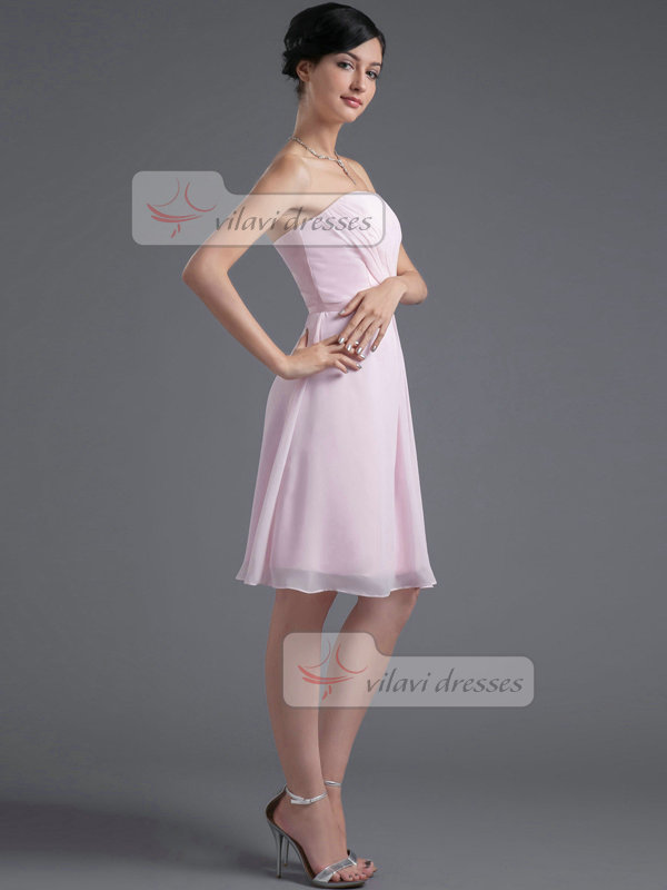 A-line Tube Top Knee-length Chiffon Crystal Homecoming Dresses