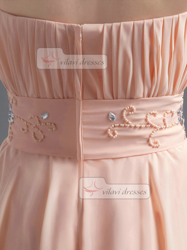 A-line Tube Top Strapless Knee-length Chiffon Crystal Prom Dresses