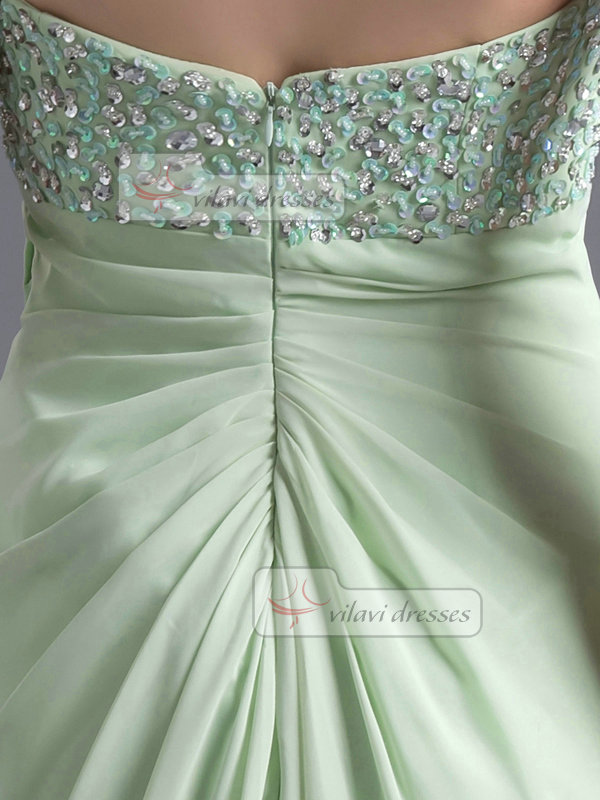 A-line Sweetheart Sweep Chiffon Bowknot Tiered High Low Prom Dresses
