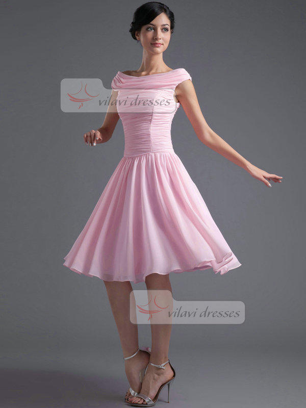 A-line Bateau Knee-length Chiffon Draped Homecoming Dresses