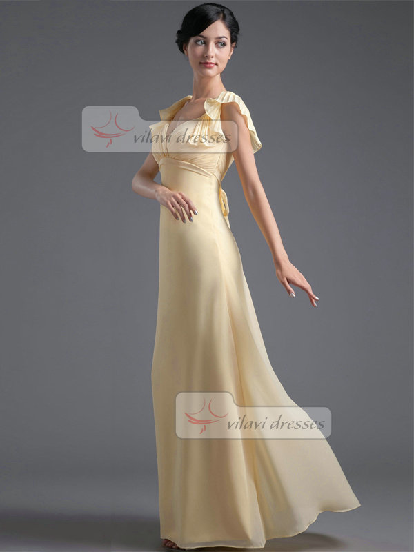 Column V-neck Floor-length Chiffon Lotus Leaf Sleeve Evening Dresses With Sashes