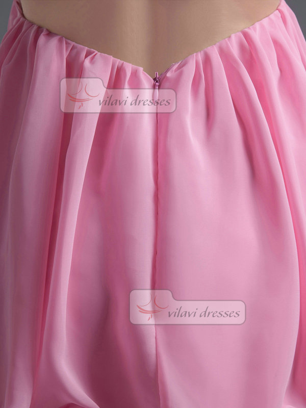 A-line One Shoulder Short Chiffon Beading Crystal Homecoming Dresses