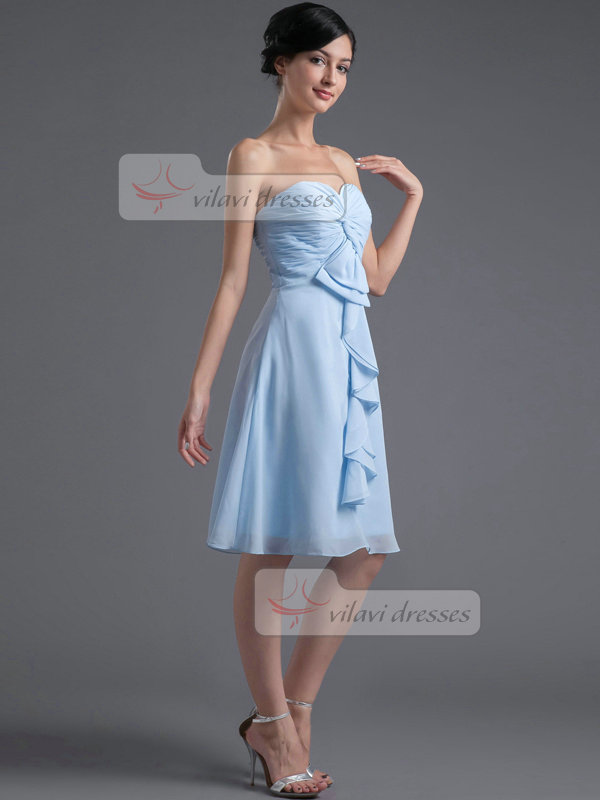 A-line Sweetheart Strapless Knee-length Chiffon Prom Dresses