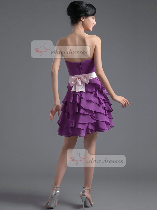 A-line Sweetheart Short Chiffon Bowknot Tiered Homecoming Dresses