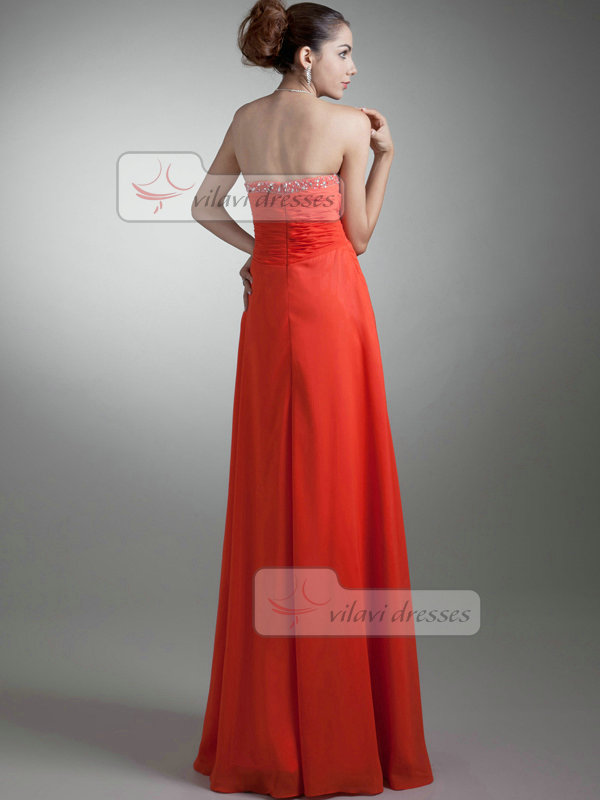 A-line Sweetheart Floor-length Chiffon Sequin Flower Prom Dresses