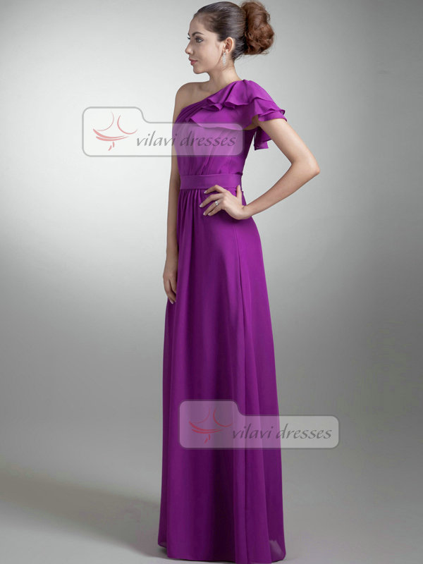 A-line Asymmetrical Collar Floor-length Chiffon Lotus Leaf Sleeve Evening Dresses With Draped