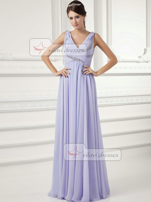 Column Straps Floor-length Chiffon Sequin Beading Evening Dresses
