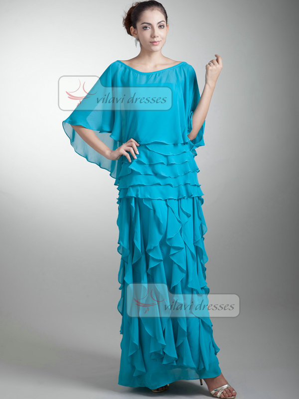 Column Bateau Ankle-length Chiffon Half Sleeve Evening Dresses With Jacket