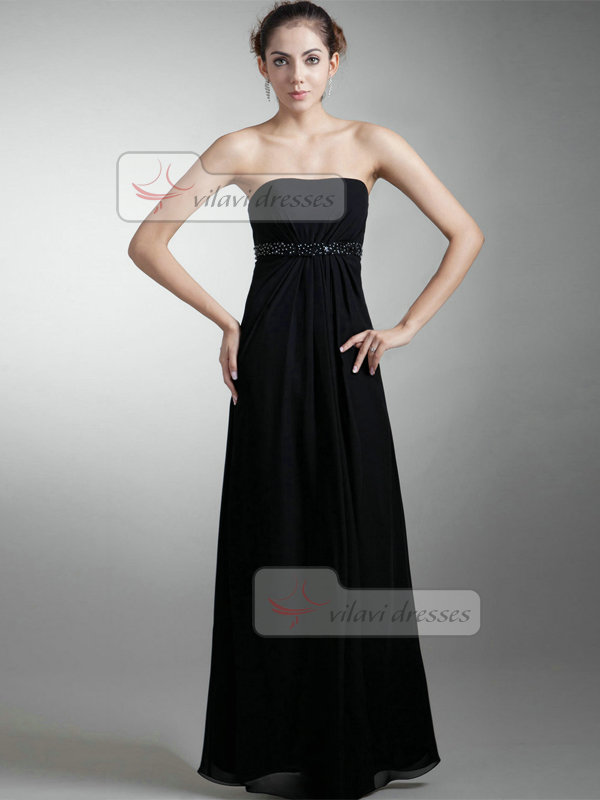 A-line Strapless Ankle-length Chiffon Beading Sequin Evening Dresses
