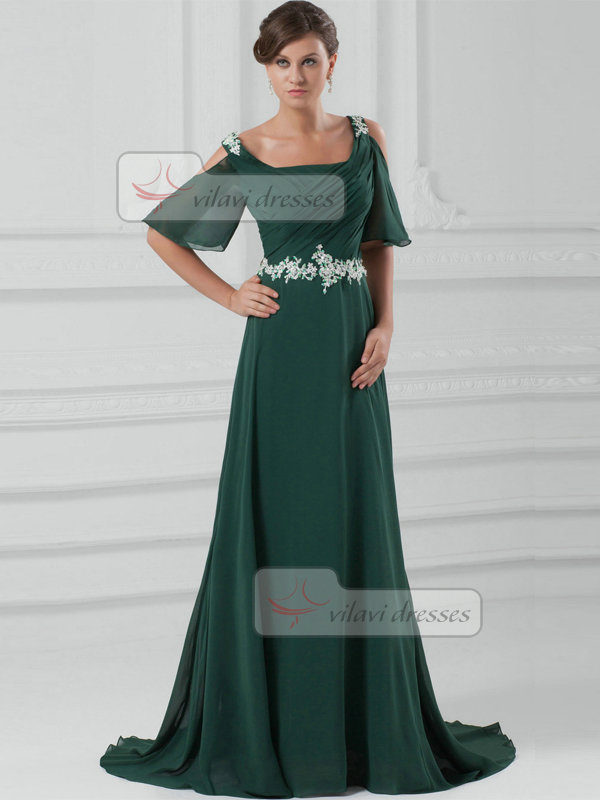 A-line Bateau Brush Train Chiffon Short Sleeve Beading Prom Dresses