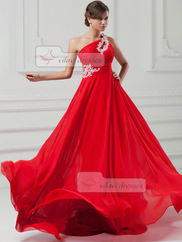 A-line One Shoulder Court Train Chiffon Open Back Beading Prom Dresses