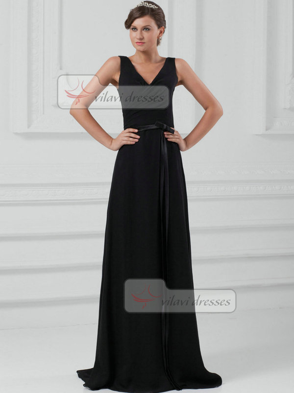 A-line V-neck Straps Brush Train Chiffon Sashes Evening Dresses