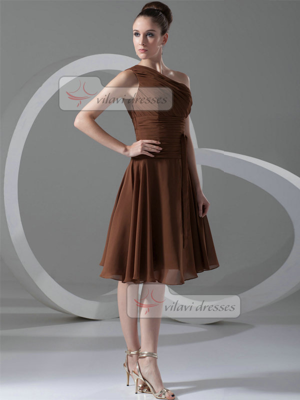 A-line One Shoulder Knee-length Chiffon Tiered Cocktail Dresses