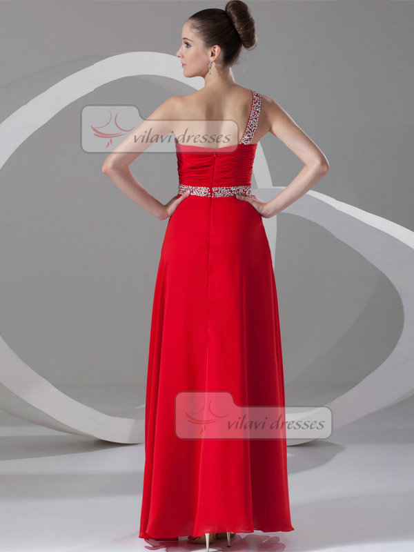 Column One Shoulder Ankle-length Chiffon Beading Prom Dresses