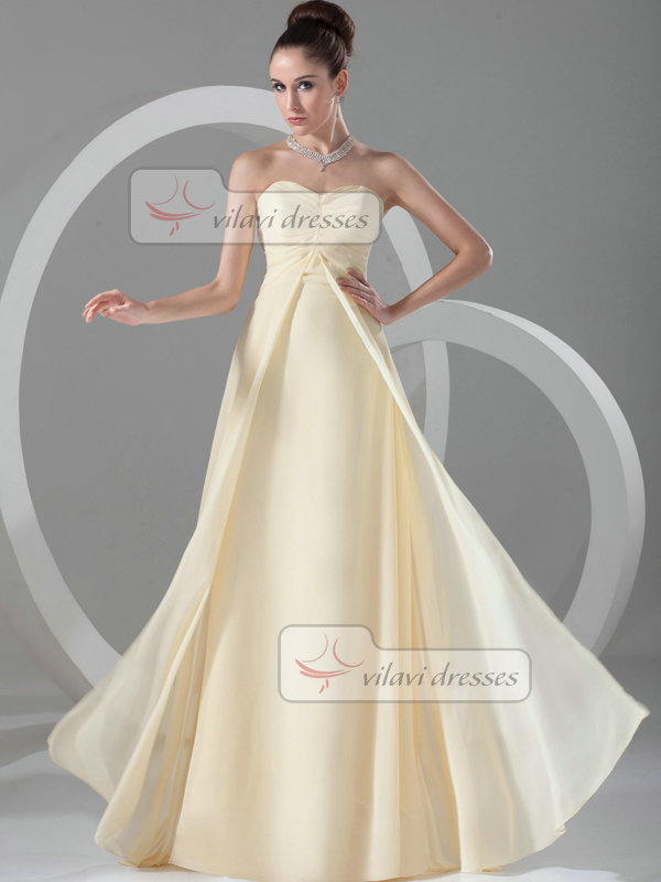 Column Strapless Floor-length Chiffon Tiered Evening Dresses