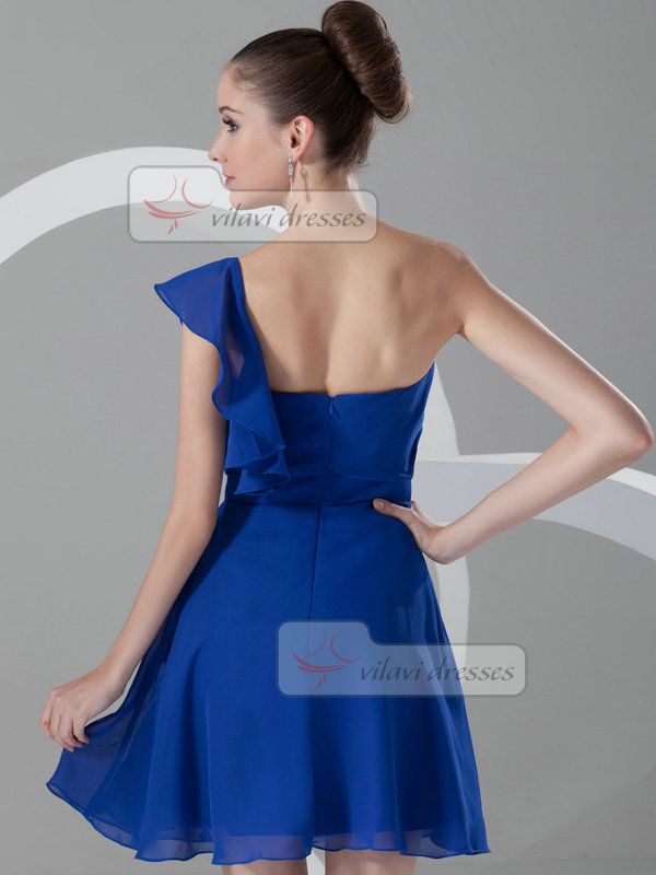 A-line One Shoulder Short Chiffon Cocktail Dresses