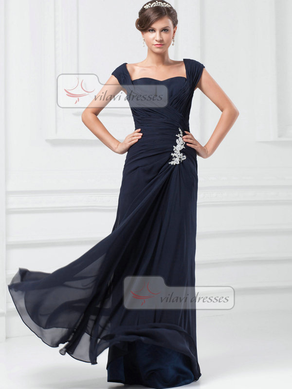 Column Sweetheart Floor-length Chiffon Cap Sleeves Crystal Prom Dresses