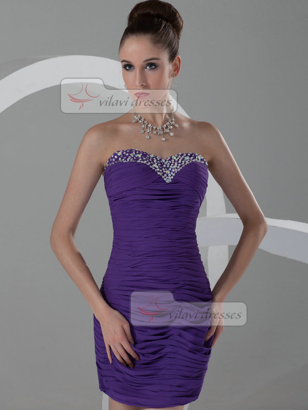 Column Strapless Short Chiffon Beading Crystal Cocktail Dresses