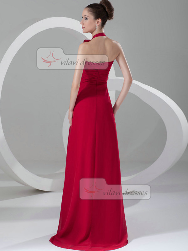 A-line Halter Brush Train Chiffon Draped Evening Dresses
