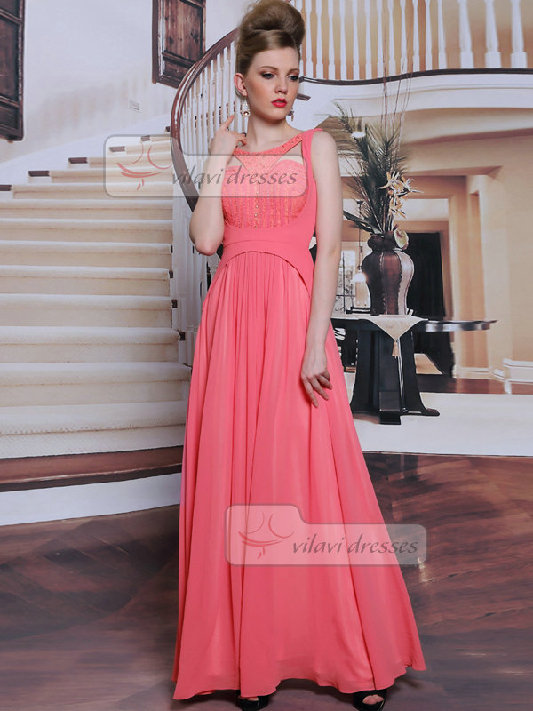 A-line Bateau Floor-length Chiffon Lace Semi Transparent Evening Dresses