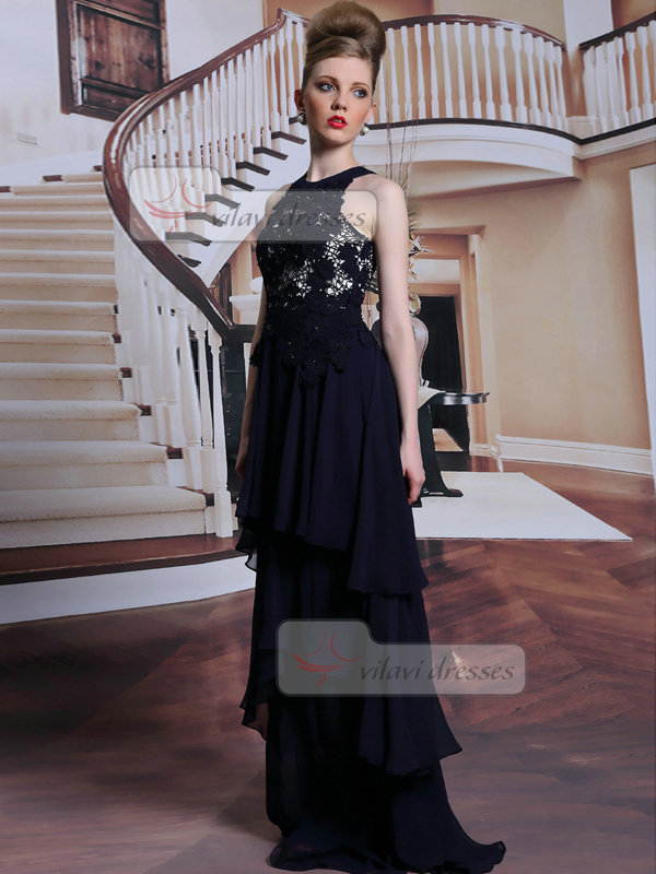 Column Round Brought Floor-length Chiffon Tiered Lace Evening Dresses