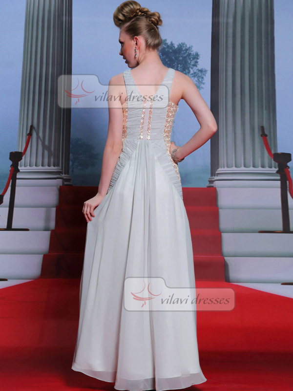 Column Scoop Floor-length Chiffon Sequin Rhinestone Prom Dresses