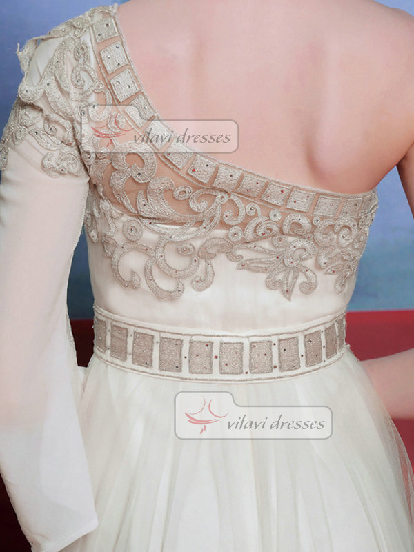 A-line One Shoulder Floor-length Chiffon Appliques Prom Dresses With Beading