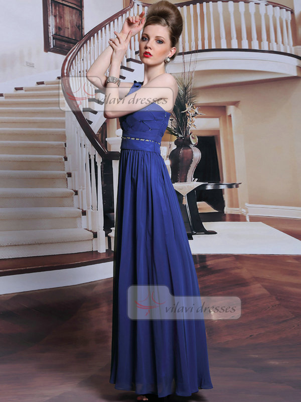 A-line One Shoulder Floor-length Chiffon Crystal Evening Dresses With Beading