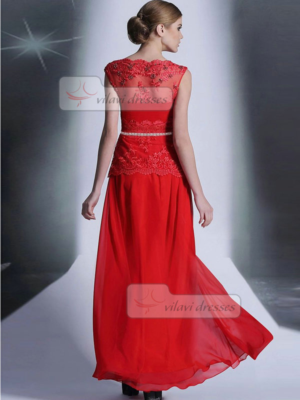 Column Scalloped-edge Floor-length Chiffon Semi Transparent Lace Prom Dresses