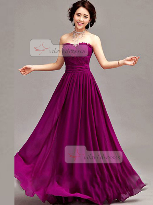 A-line Sweetheart Floor-length Chiffon Draped Evening Dresses