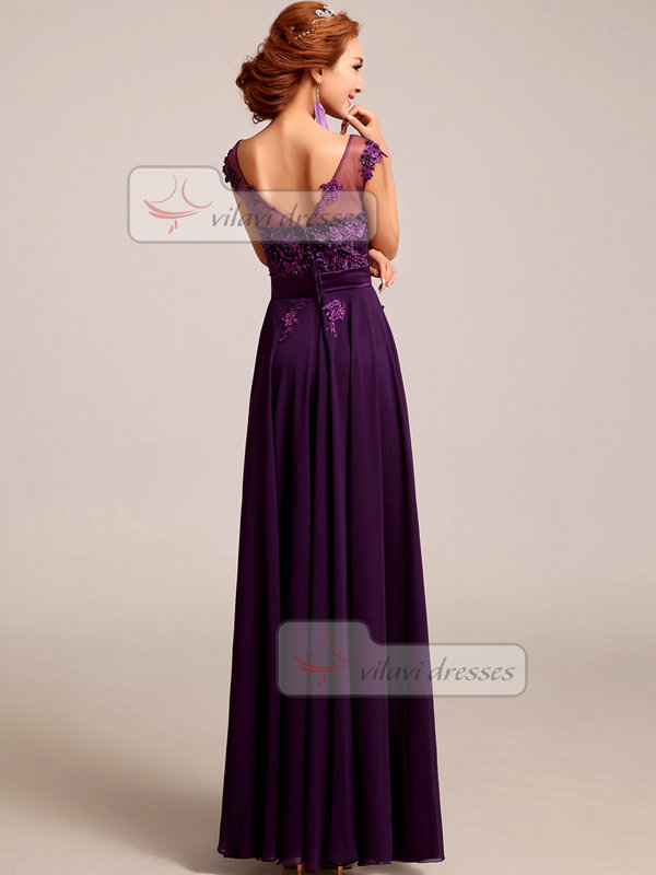 Column Bateau Floor-length Chiffon Appliques Beading Prom Dresses With Sequin