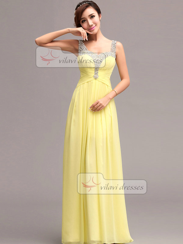 Column Straps Floor-length Chiffon Semi Transparent Prom Dresses With Criss-cross