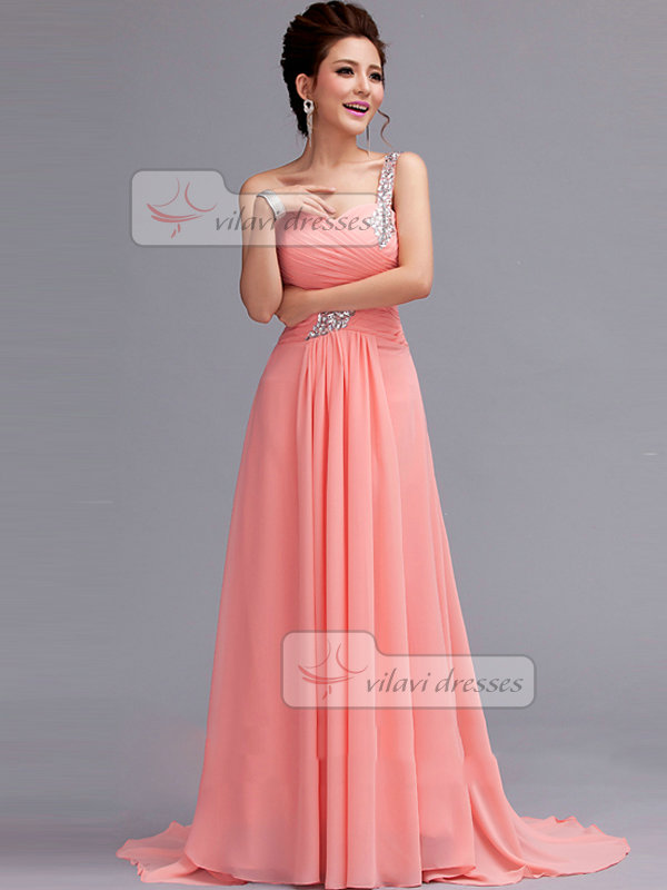 A-line One Shoulder Sweep Chiffon Rhinestone Draped Evening Dresses